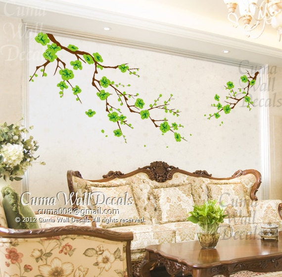 Cherry blossom wall decals green flower vinyl mural nature for Mural nature