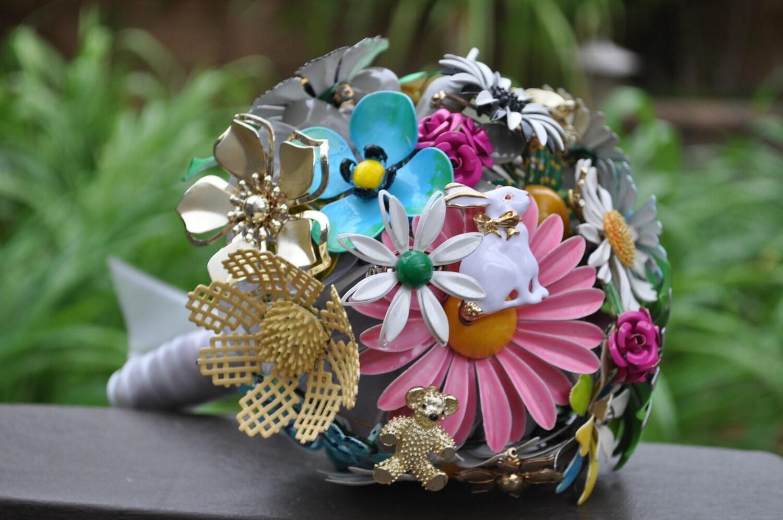 Custom Listing ONLY for Georgiagaden - custom wedding brooch bouquet - vintage, mixed colors, blue bow, rabbit, teddy bear, Irish