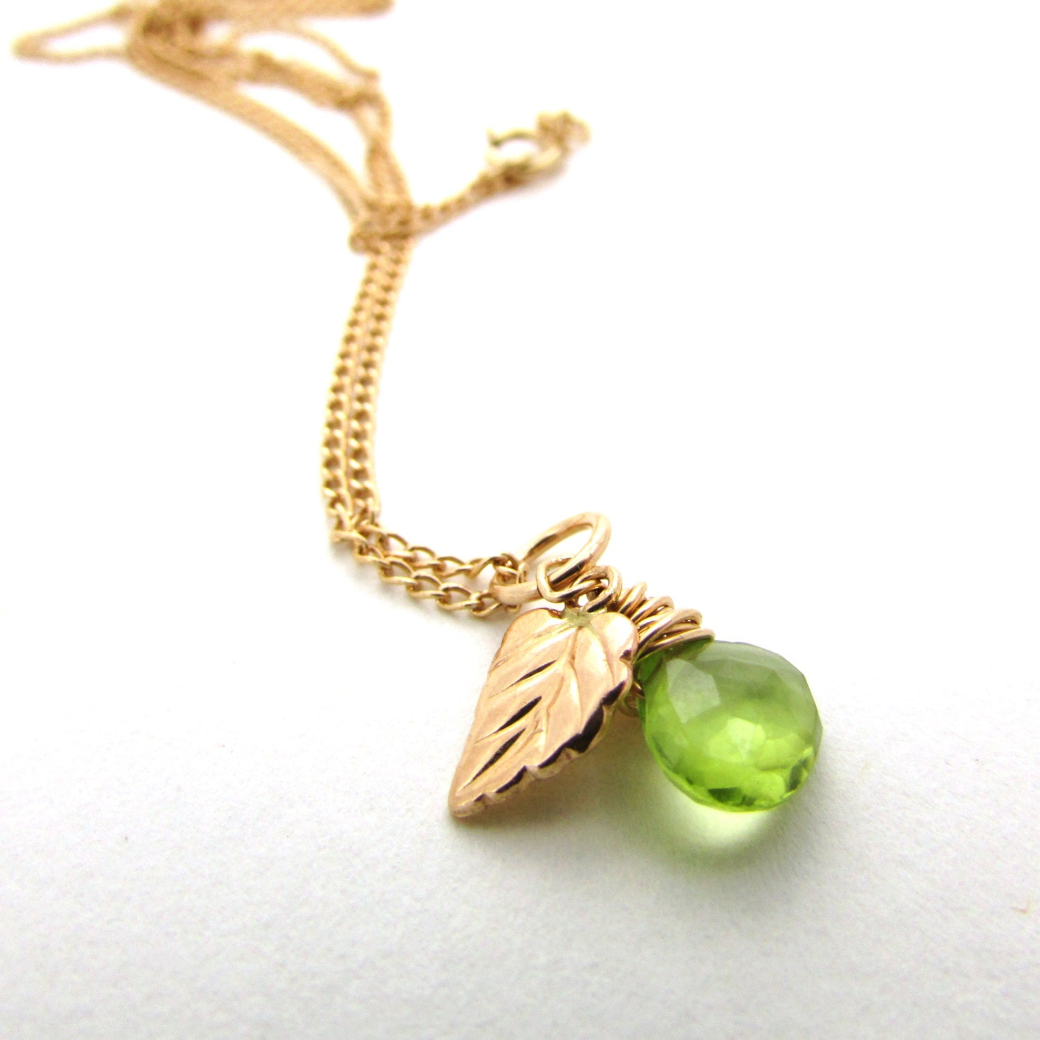 Peridot necklace with gold leaf august birthstone necklace lime
