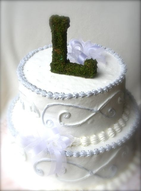 Moss Covered 6 Inch Letter Initial Wedding Cake By SpottedLeopard