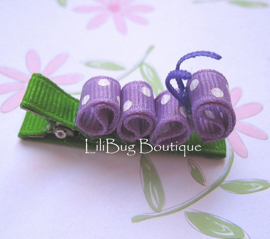 LiliBug Caterpillar Hair Clip - Purple and White Polka Dot - LiliBugBoutique