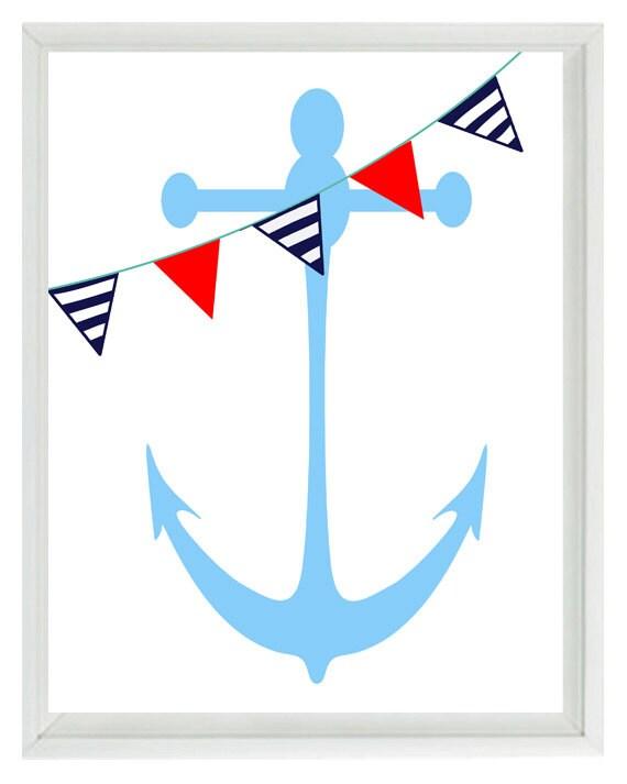 Anchor Wall Decor Nursery : Nautical nursery anchor wall art print navy by rizzlean ee