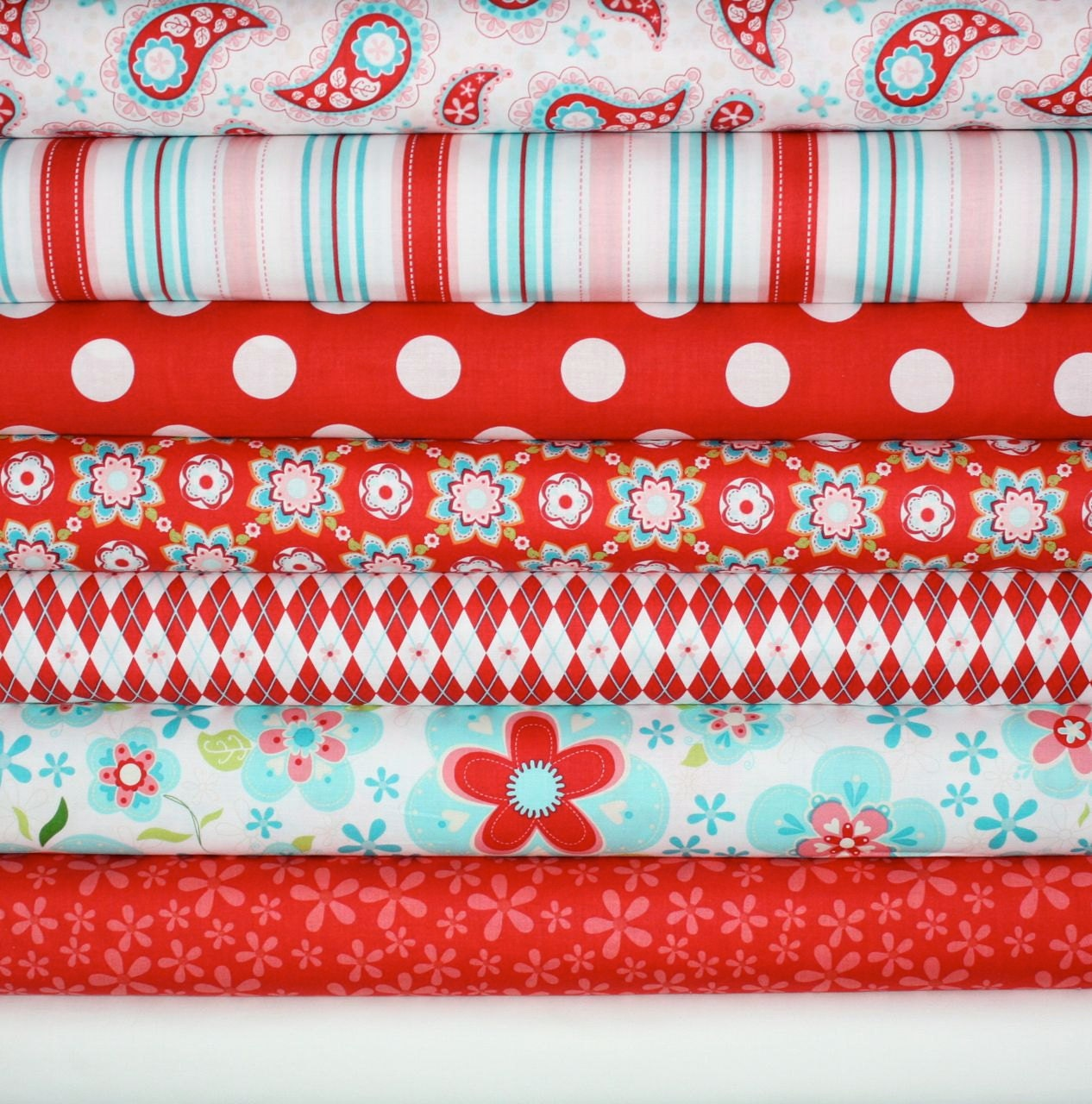 Sugar and Spice Fabric by The Quilted Fish for Riley Blake Designs- Red Fat Quarter Bundle, 8 total