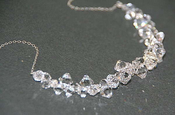 Courtney. Clear  Swarovski Crystals and Swarovski rhinestones necklace (silver)