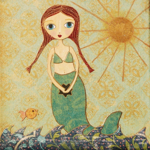 Mermaid Gifts Mermaid Decor Mermaid Art Print Mother S: Redhead Little Mermaid Girl Art Block Painting By Sascalia