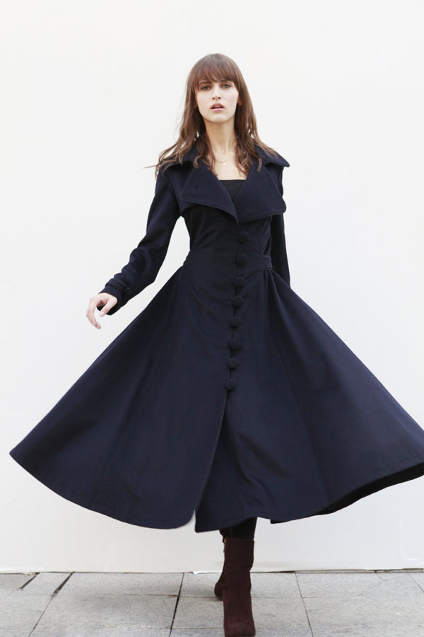 Navy Blue Cashmere Coat Big Sweep Women Wool Winter Coat Long Jacket Tunic / Fast Shipping - NC418 - Sophiaclothing