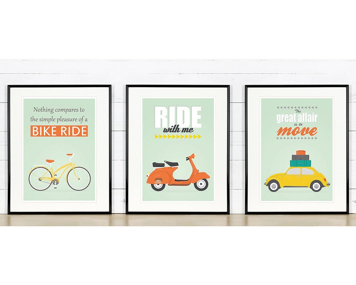 Retro poster a3 set bike vespa scooter vw beetle by emudesigns - Affiche design scandinave ...