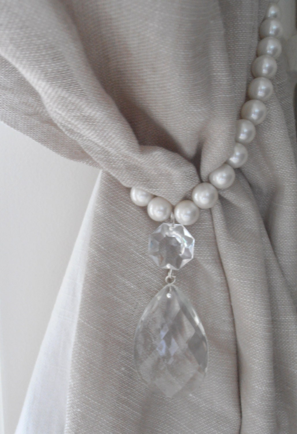 two decorative curtain tiebacks faux pearls vintage crystals drapery holder tie backs