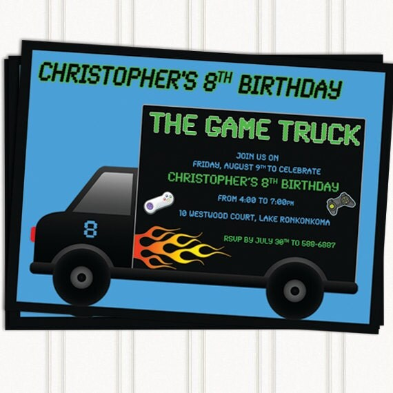 Game Truck Party Invitations By GingerSnapsOriginal On Etsy