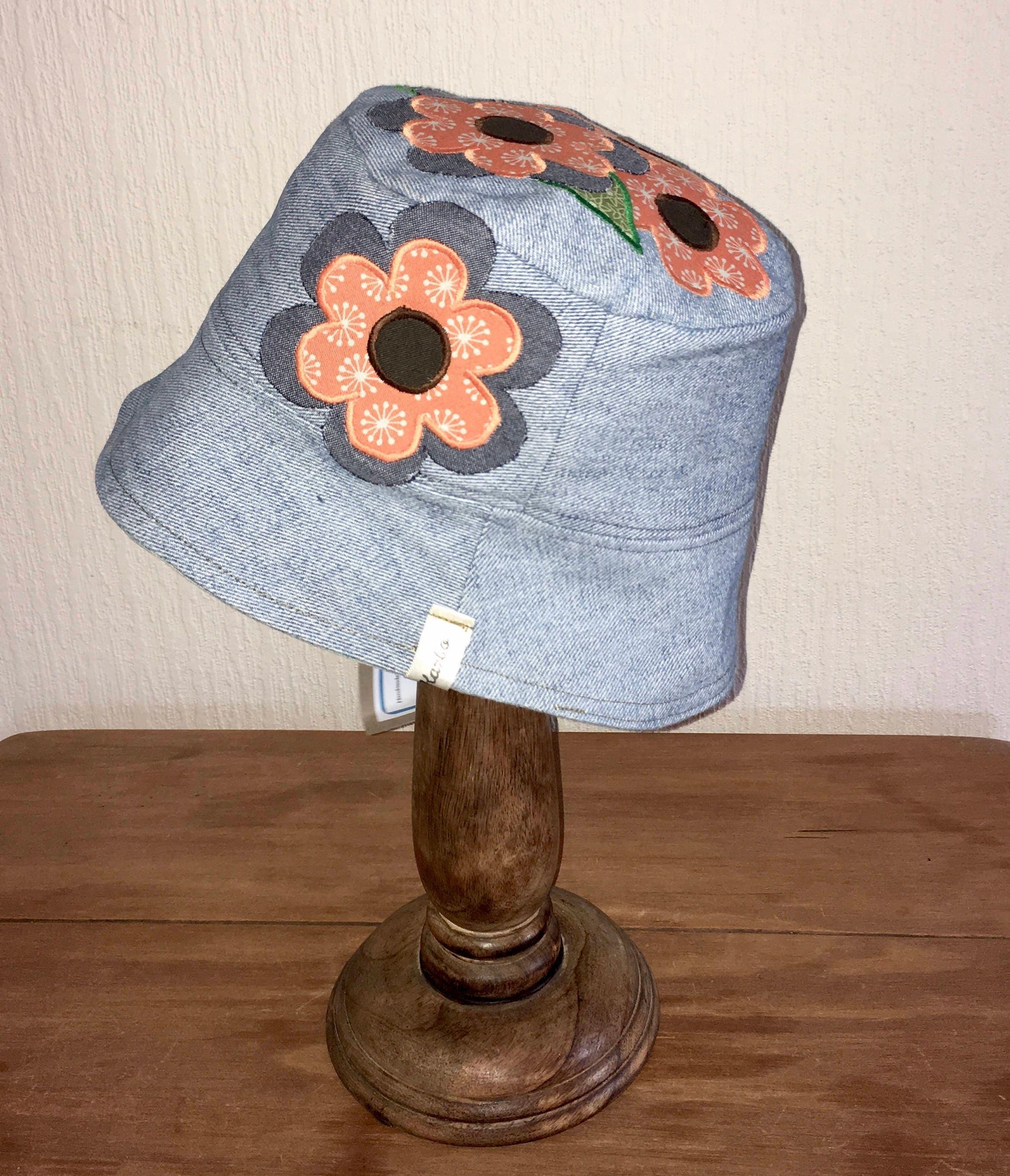 Flower Festival Hat hippie hat boho hat Ladies Sun hat festival hat women Sun hat Denim Sunhat Flower hat Flower denim hat sun hat