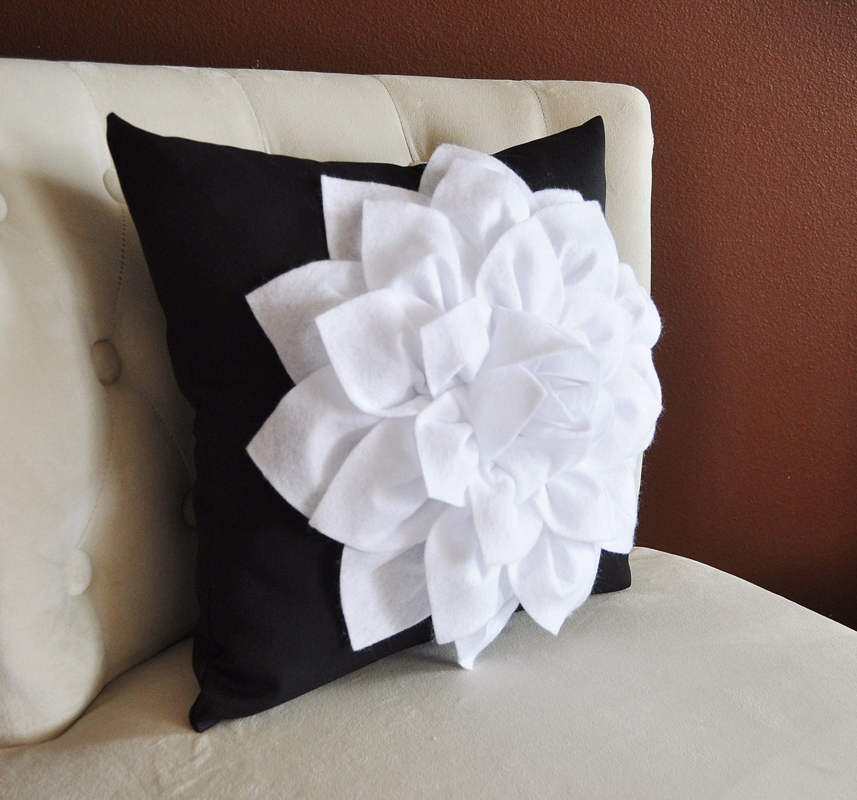 Decorative Throw Pillow White Dahlia Flower on Black by bedbuggs