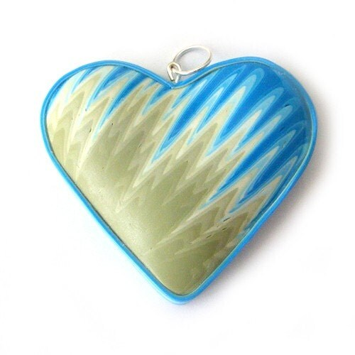 Polymer Clay Heart Pendant in Turquoise and Green Flames