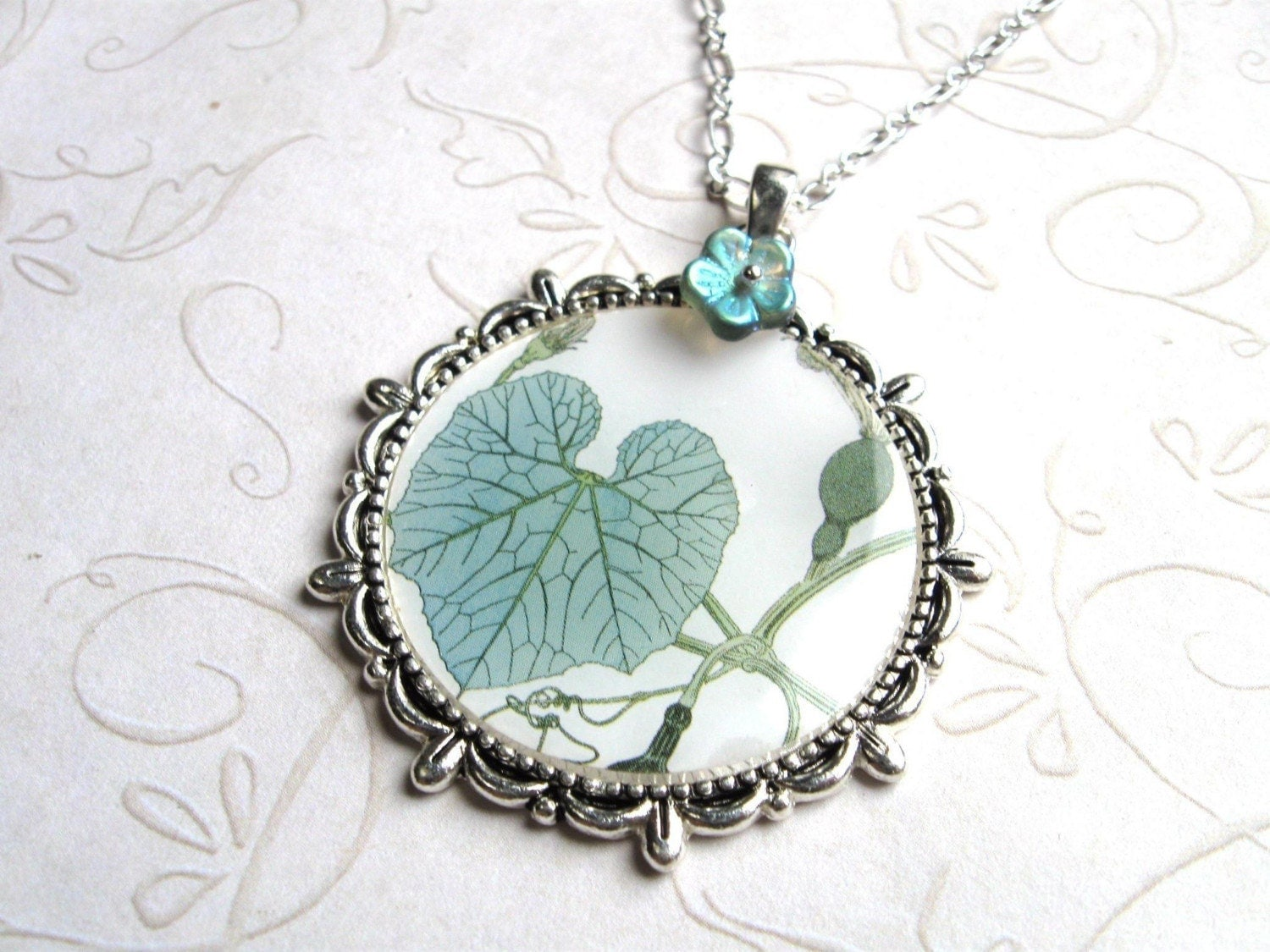 Botanical Leaf Necklace, blue