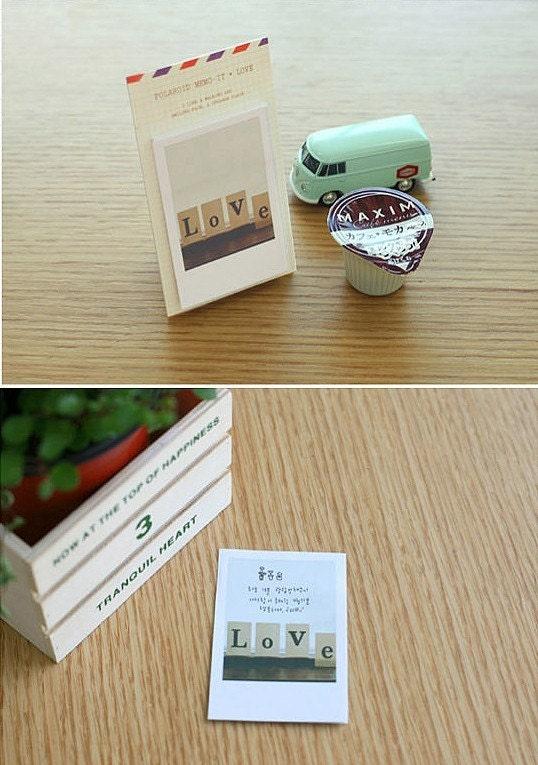 Polaroid style Mini Post It Memo Pad - Love (40sheets)