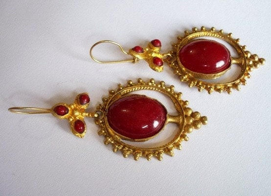 VINTAGE RUBY AND CORAL EARRING BY ANTIQUE STYLE COLLECTION