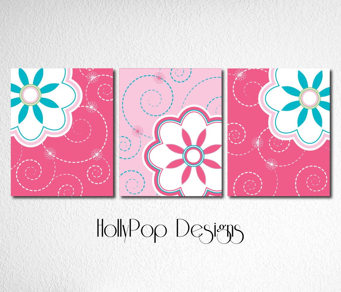 Cute bright pink teal wall decor idea nursery by hollypopdesigns - Pink wall decor idea ...