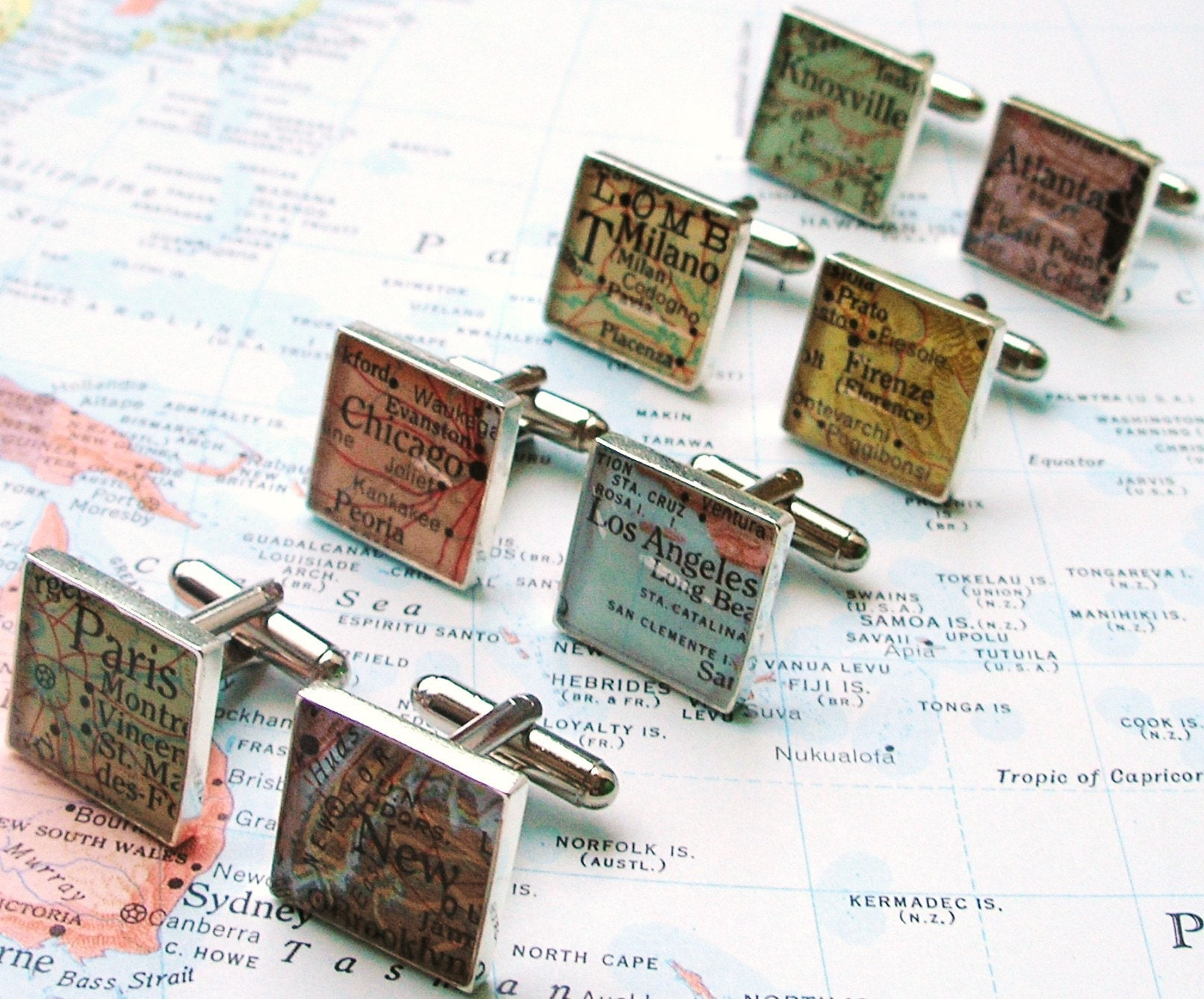 Vintage Map Sterling Silver Square Cufflinks