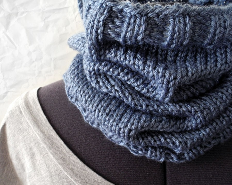 Denim Blue Knit Cowl