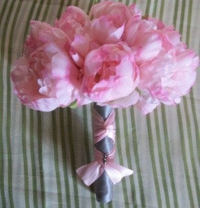 8 Pc. Pink Peony Bouquet Set With Silver/Gray Ribbon