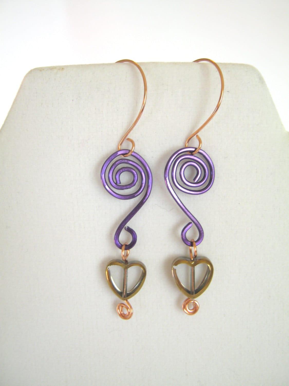 Purple Aluminum Wire Wrapped Earrings , Heart Bead Dangle Earrings , Unique Handmade Jewelry , Valentine's Day Love Earrings - 2012BellaVida