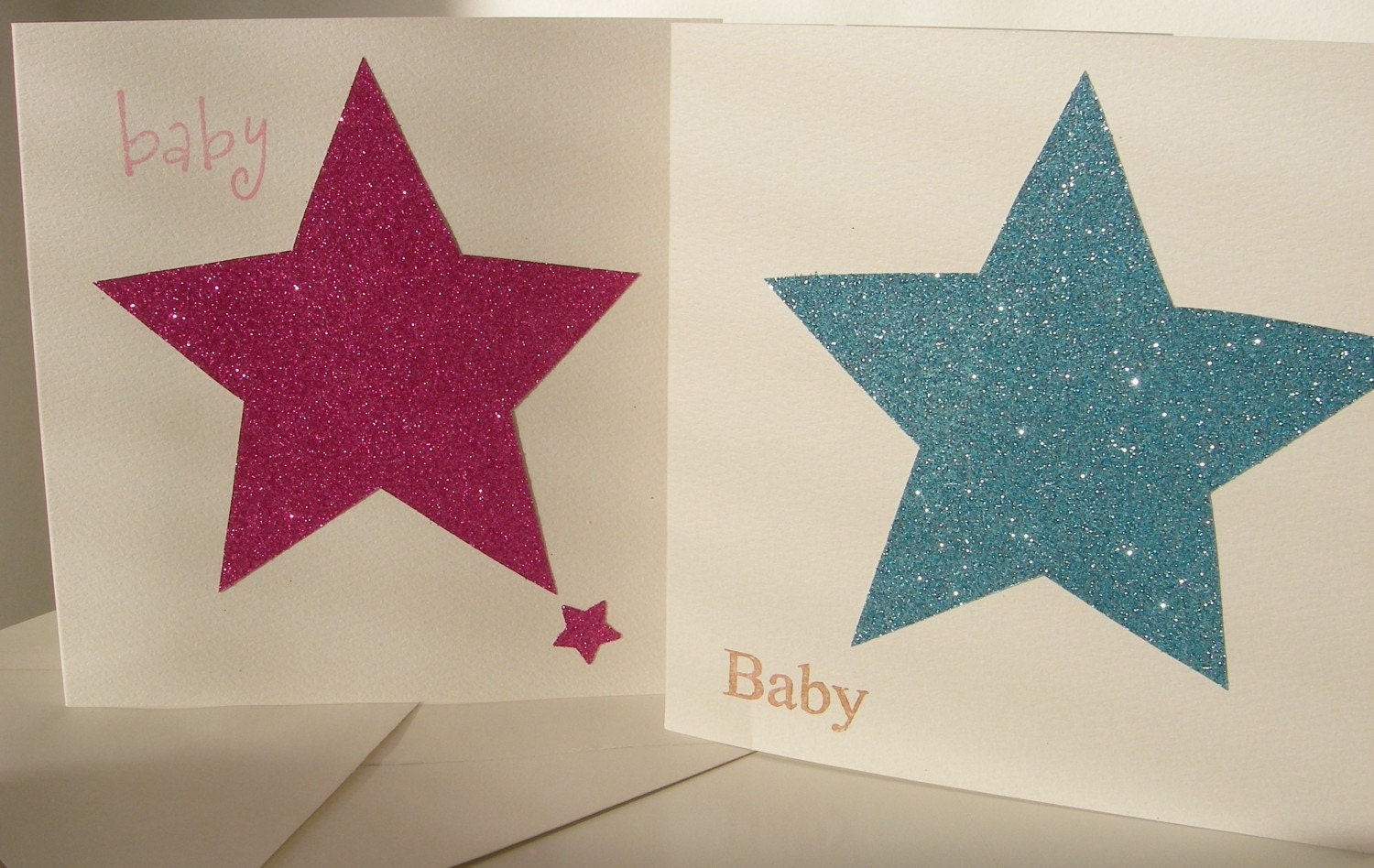 New baby BOY glitter STAR card