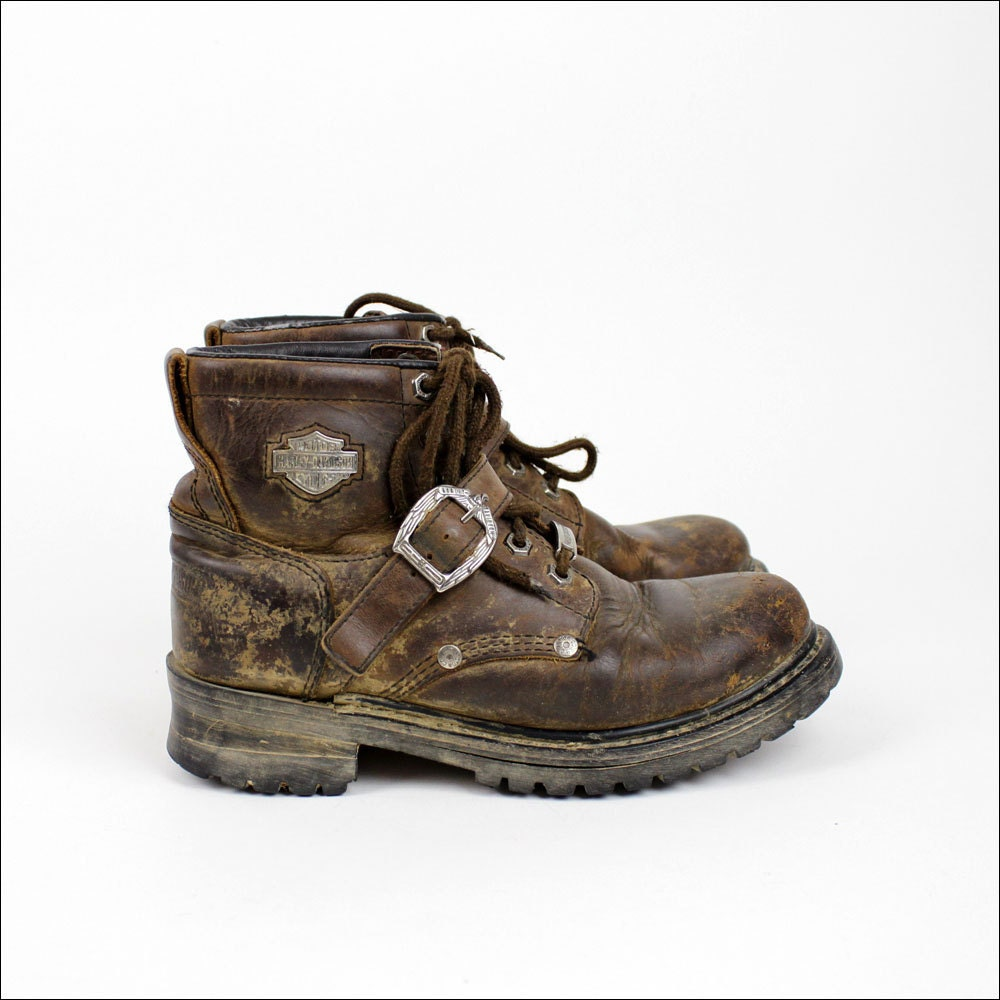 vintage harley davidson boots 8 brown distressed by omniavtg