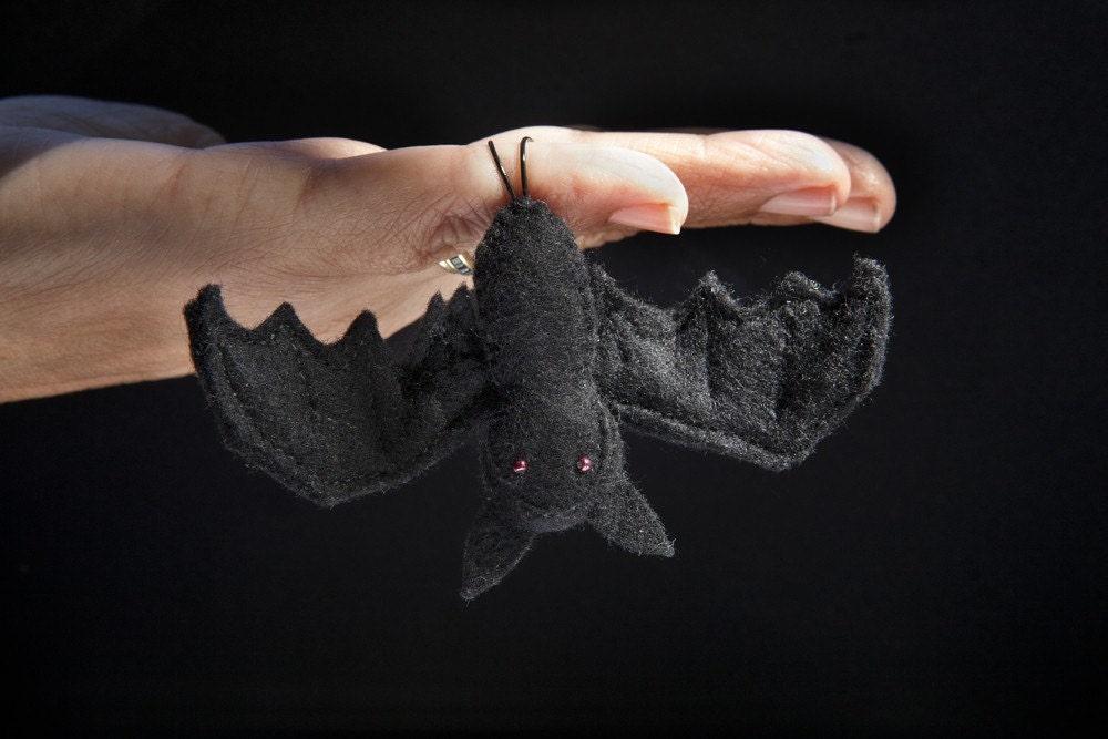 Creepy Halloween Wee Felt Bat Julie Blanchette on Etsy handmade decoration