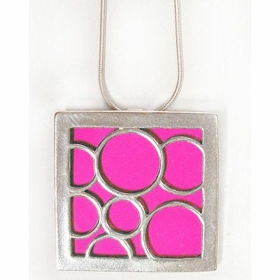 recycled aluminum/silver HOT PINK Large square bubble pendant