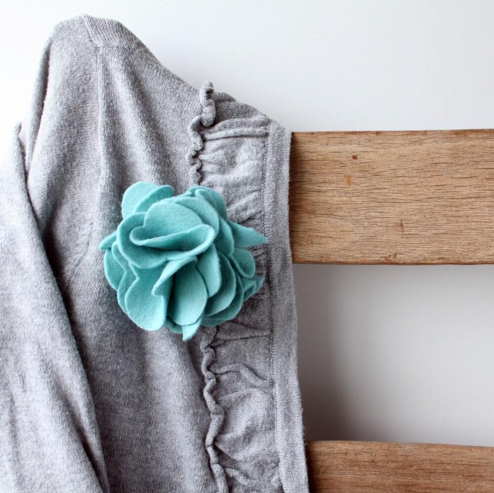 Turquoise Blue Rose Felt Brooch