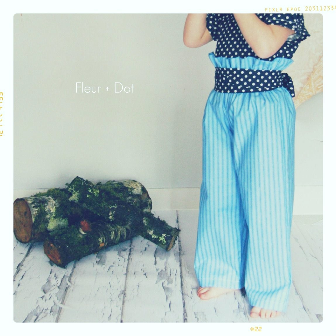 Girls Pants: The Blue Striped Ruffle Top Wide Leg Trousers from the Autumn Winter Collection by Fleur and Dot - FleurandDot