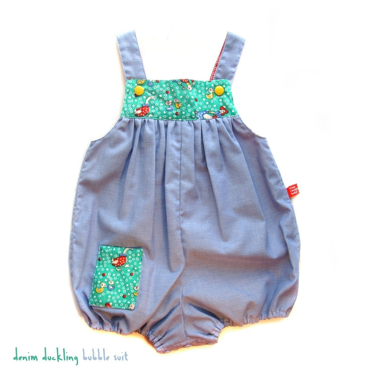 SPRING SALE - Duckling denim bubble  for baby - 3 to 6months