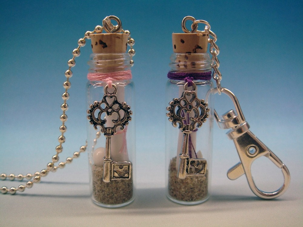 Antiqued Key - Message in a Bottle