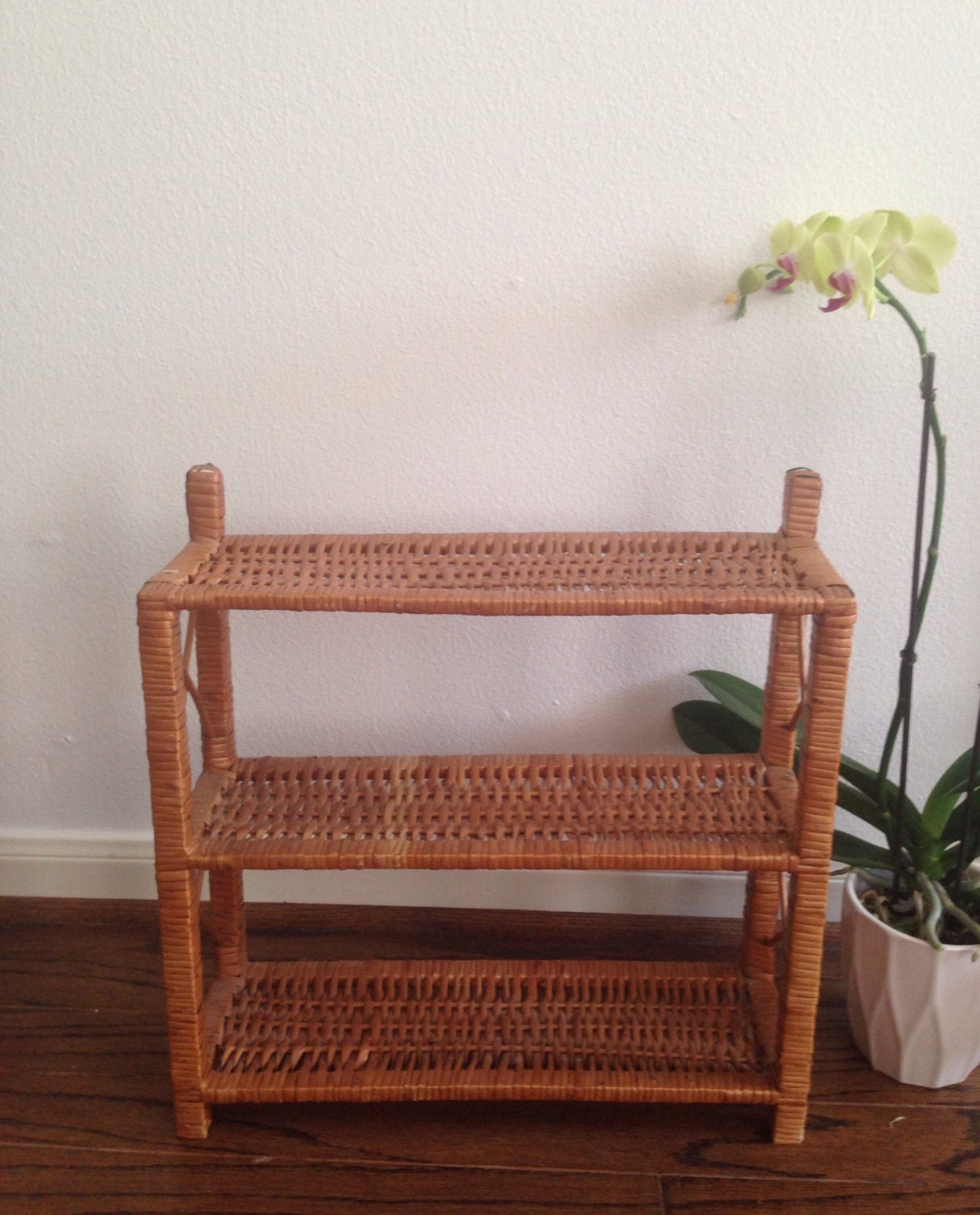 Wicker bathroom shelves