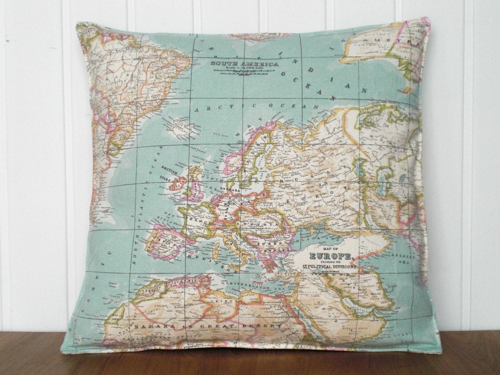 Throw Pillow Cover Fabric : Decorative Pillow case World map fabric Throw by MeryBradley