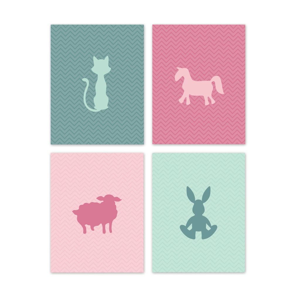 Animal Silhouette Chevron Background Printables - Set of 4 - Teal/Pink - Storyfor2