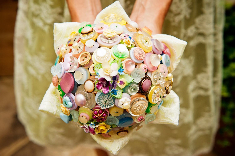 Button Bridal Bouquet Etsy : Vintage button bouquet flowers and lace pastel by beaubuttons