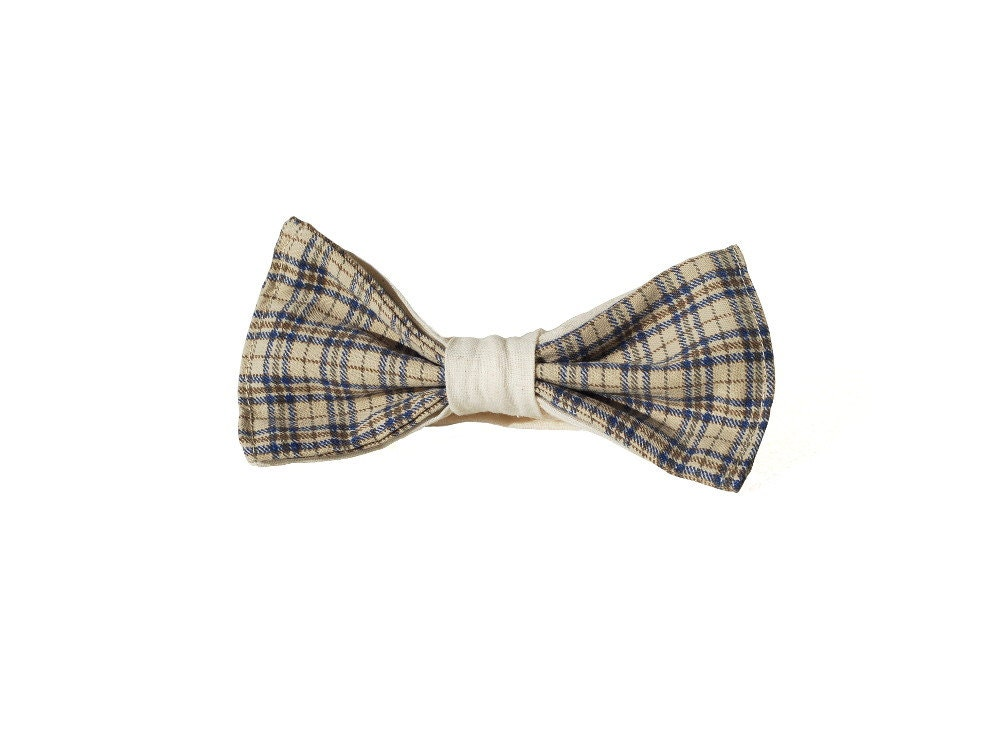 Checkered Boys Beige Navy Blue and Ivory Bow Tie, Kids Toddler Chic Elegant, Wedding, Twins Set - morion