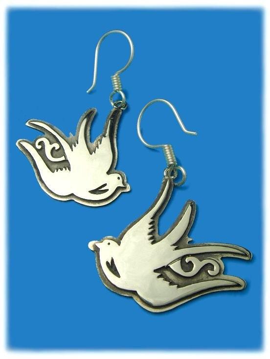 Silver SWALLOW BIRD Tattoo EARRINGS. From tesoromexicano
