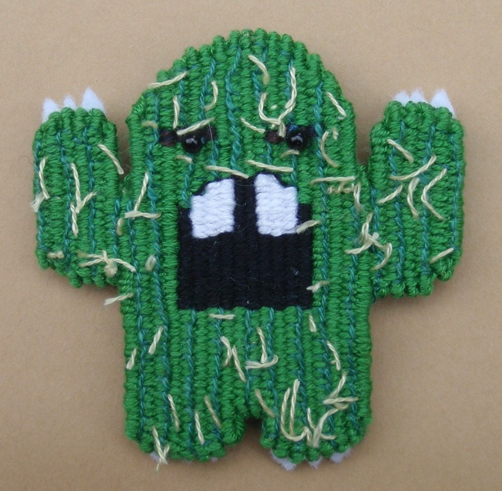 Green Tapestry Cactus Monster Brooch- Spiky Amigo Saguaro