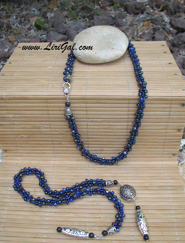 Blue Beaded Crocheted Long Lariat Transformer