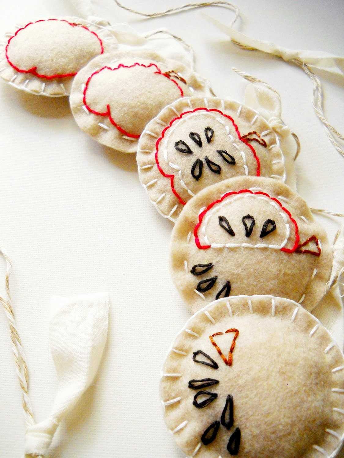 SALE - Evolution of Eating an Apple - Embroidered Felt Garland