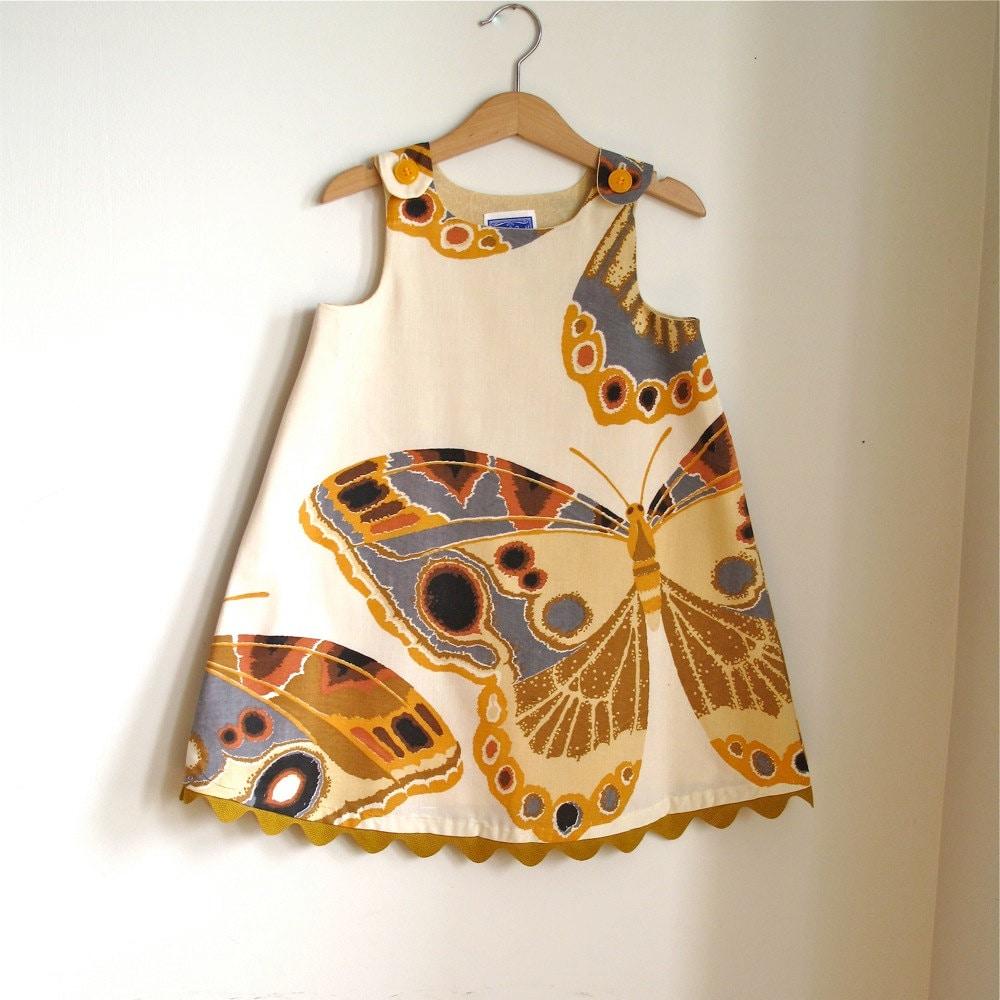 Butterfly baby toddler girls dress- girls children's clothing - sizes newborn, 3m, 6m, 12m, 18m, 4t - aprilscott