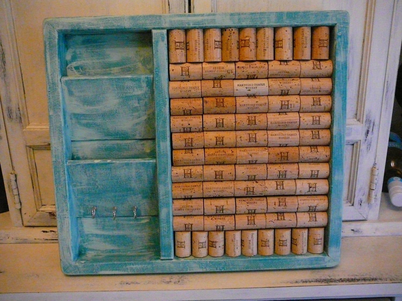 Mail Sorter/Bulletin Board/Message Center/Organization/Wine Cork Art - Happiness2day