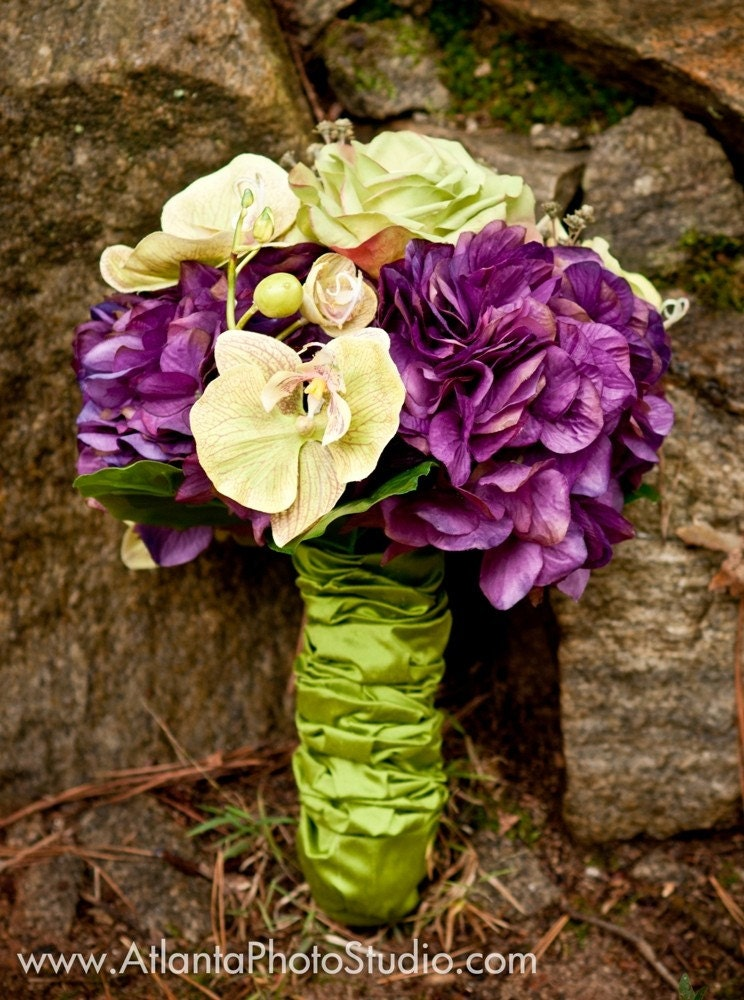 Purple and Green Bridal Bouquet of Premium Orchids Hydranges Roses