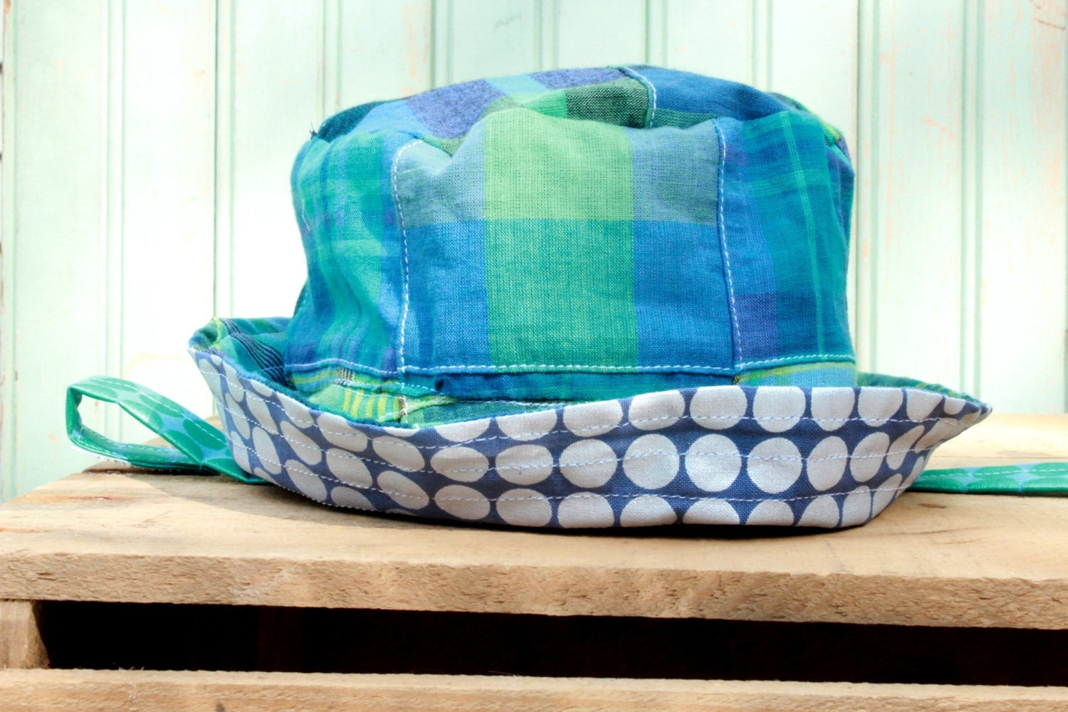 Baby Sun Hat Turquoise Madras Bucket Cap Newborn to 6 Months - Reversible Trick Sun Hat Country Style - worthygoods
