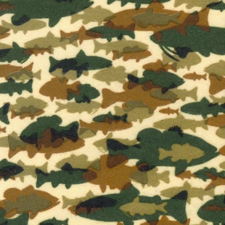 Items similar to fish green and brown flannel fabric by for Fish fabric by the yard