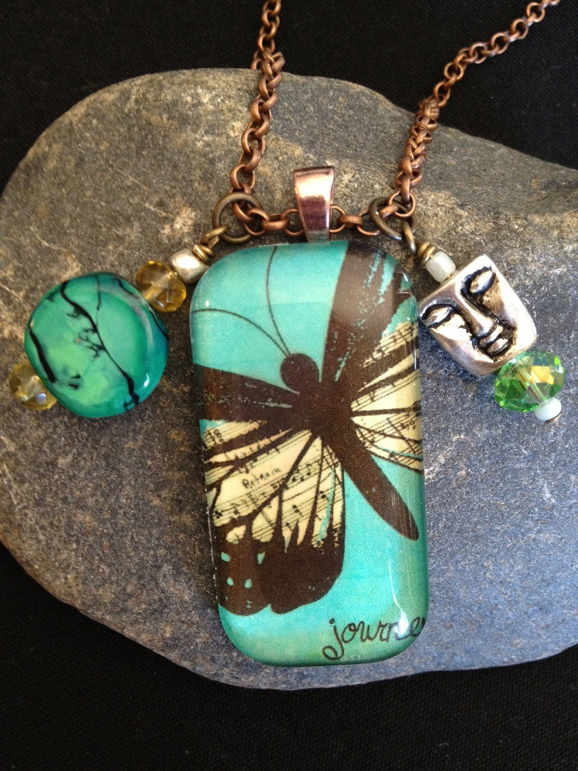 Teal Musical Butterfly glass tile pendant necklace
