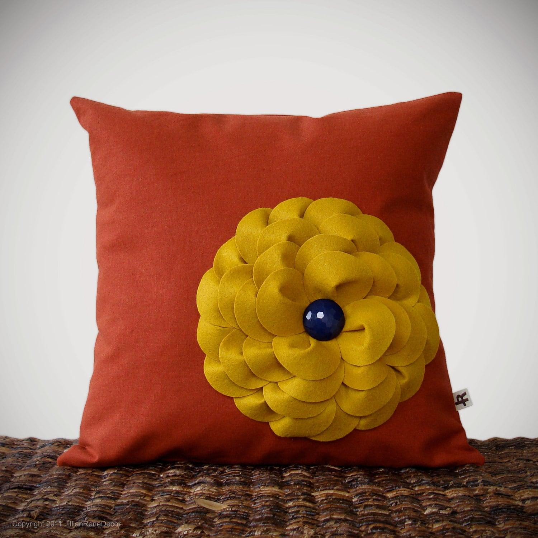 """Mustard Yellow Felt Flower Pillow Navy Button Rust Linen 16"""" DECORATIVE PILLOW COVER by JillianReneDecor Bright Summer Color Block Decor - JillianReneDecor"""