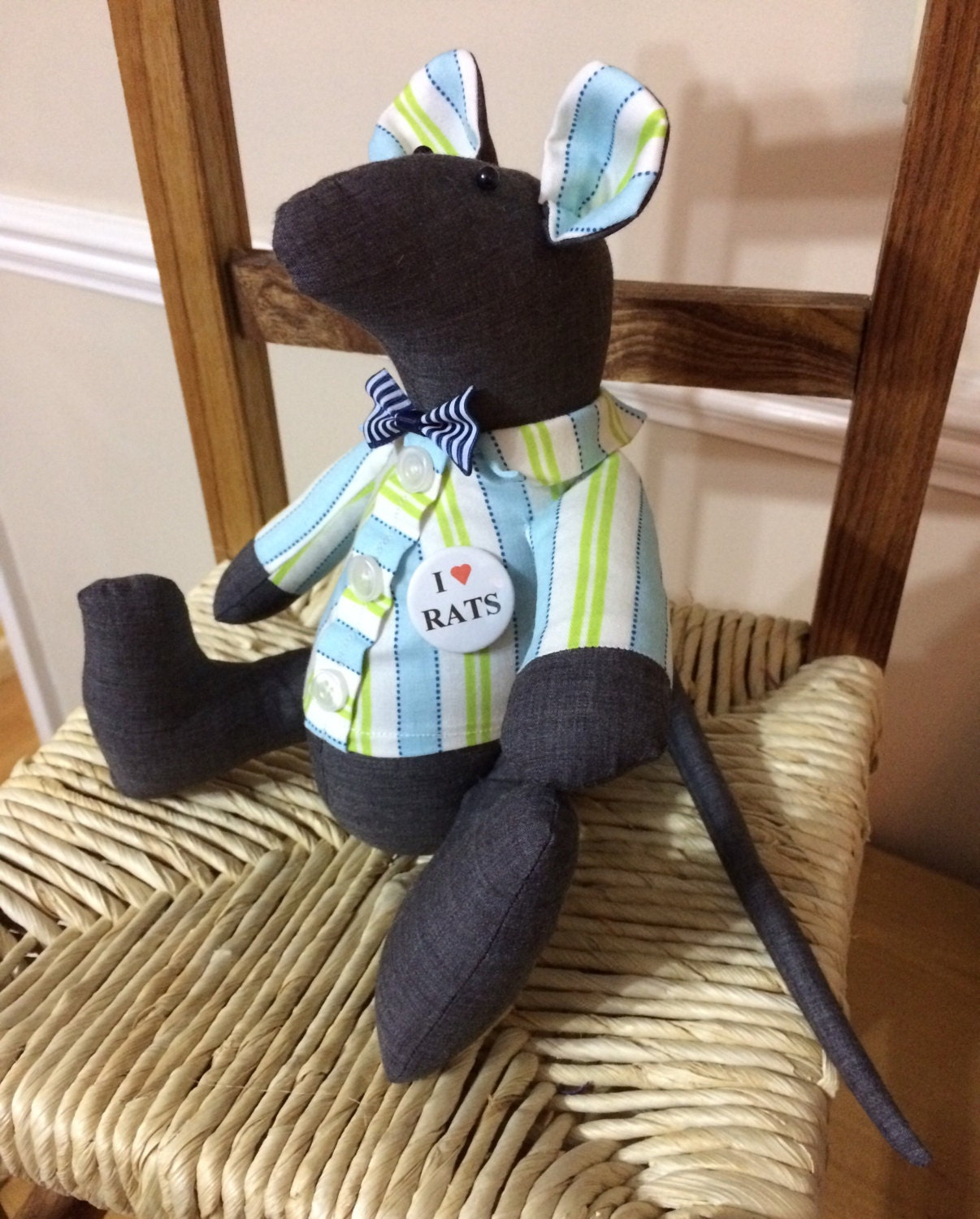 Soft Toy Rat rat lovers gift Stuffed Animal gift idea Mr Rat handmade toy rat. One off ready to go rat. Jaunty shirt  badge