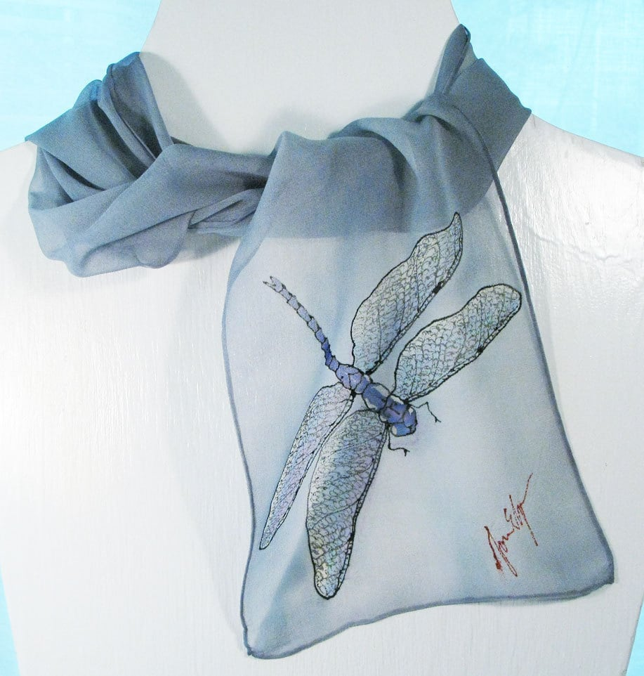 Silk Scarf- Chiffon Silk Scarf in silvery gray with a simple dragonfly
